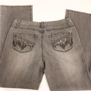 Style & Co Sequin Boot Cut Petite Gray Jeans
